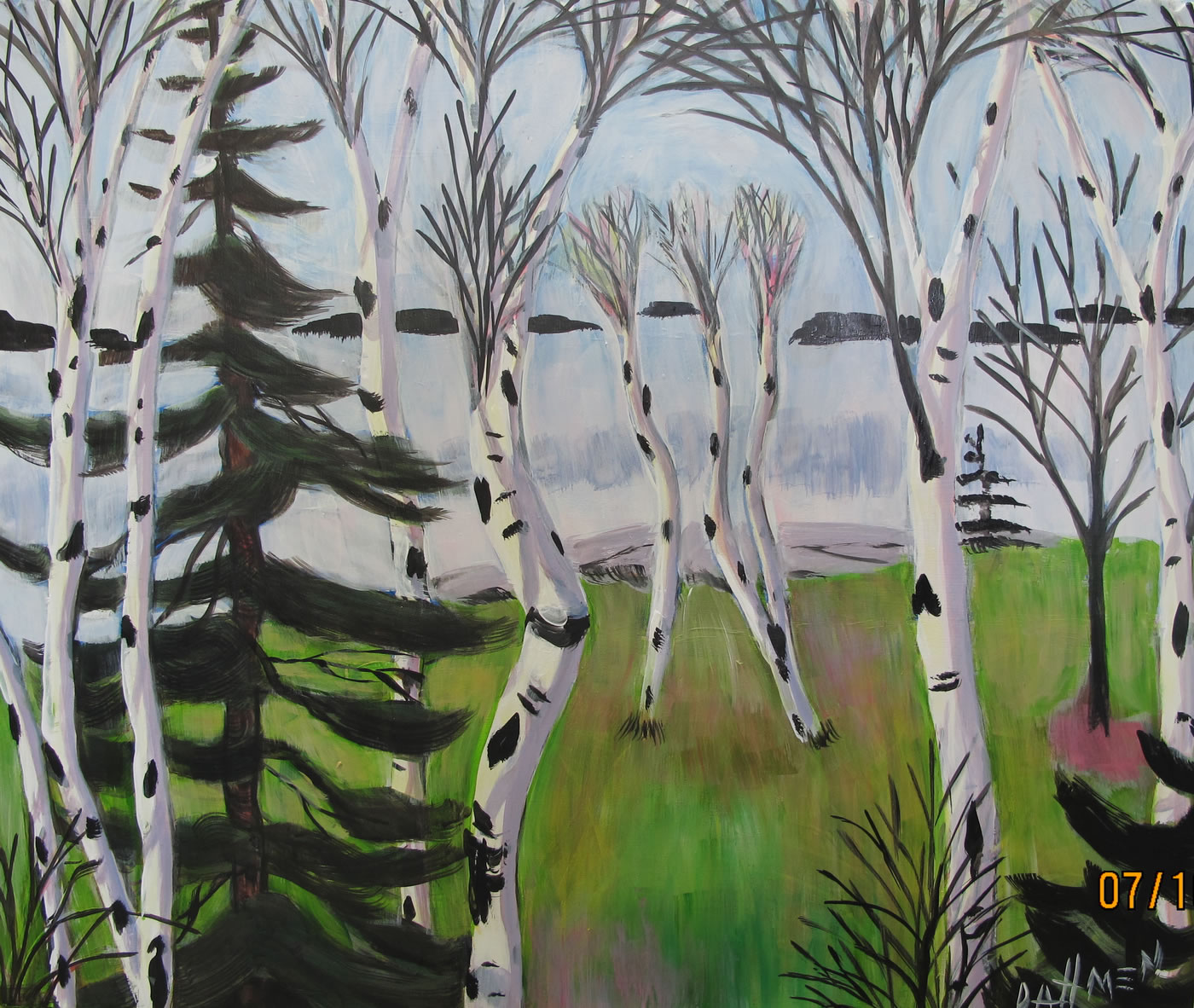 Dancing Birches  (framed in wood with gold leaf)