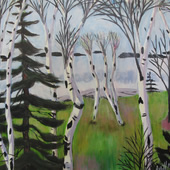 Dancing Birches  (framed in wood with gold leaf) - SOLD