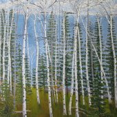 Birches and Evergreens - sold