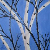 Birch and Sky (framed in wood with gold leaf) - $2000.00